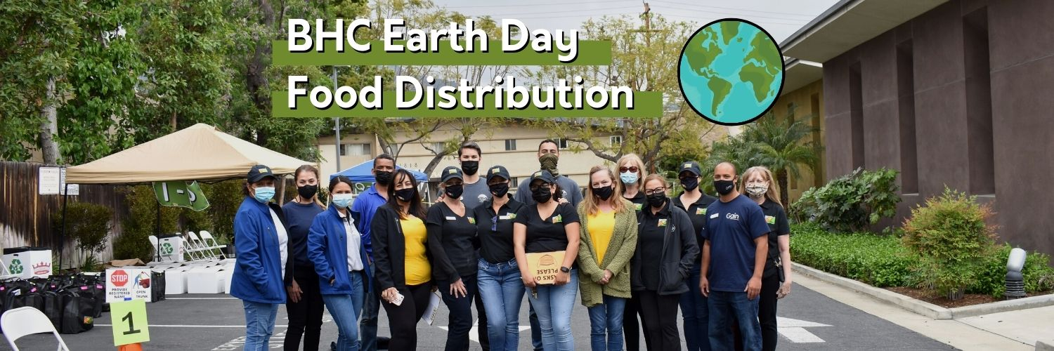 Group picture of BHC staff, board members, and volunteers for our Earth Day Food Distribution